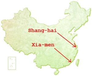 Shang-hai ligger over Xia-men